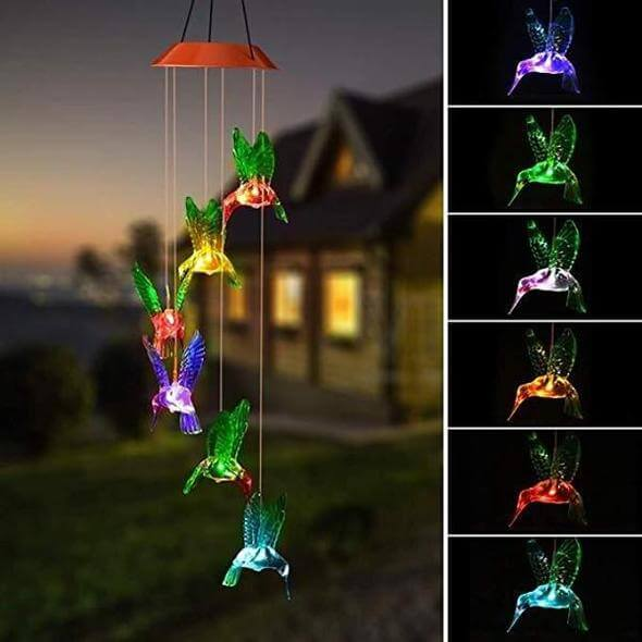Solar Powered Hummingbird Wind Chime Color Changing Light