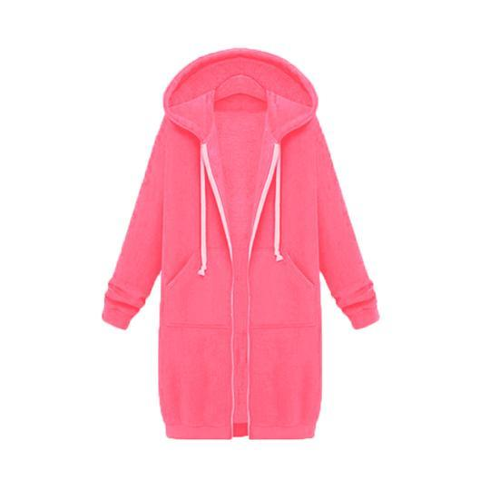 LONG SLEEVE ZIP UP HOODED HOODIE JACKET OVERCOAT