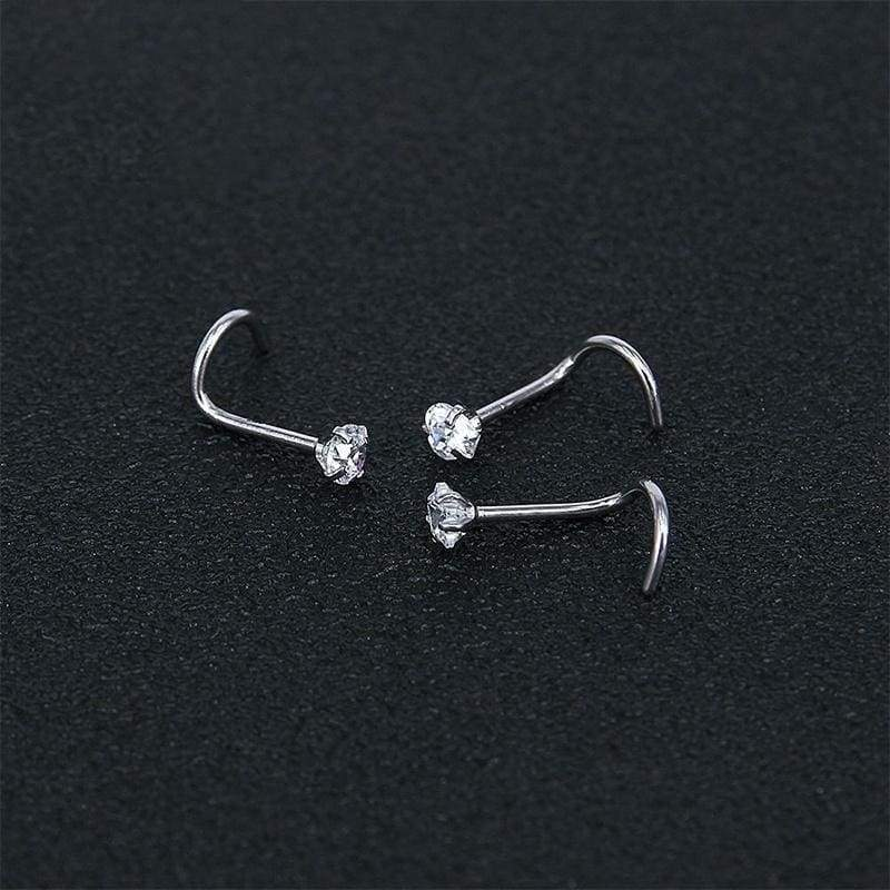 3Pcs Set Diamond 925 Sterling Silver Nose Studs Nose Rings Stainless Steel Nose Piercing Jewelry for Women