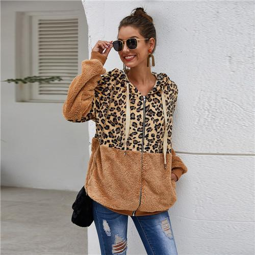 Buy Two Free Shipping-Leopard Zip-Up Patchwork Hooded Coat