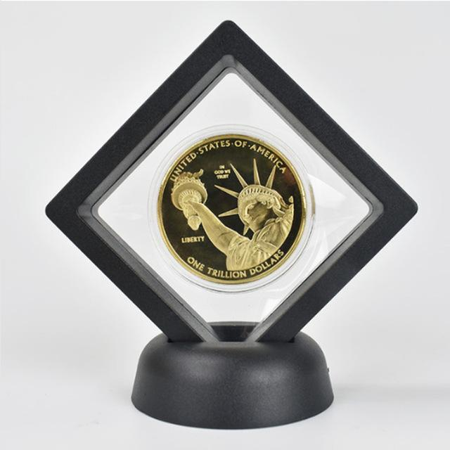 Gold Coins 1 Trillion Dollar  Plated US coin Collection Metal Coin with Black velvet Gift box  Metal Commemoration Gift