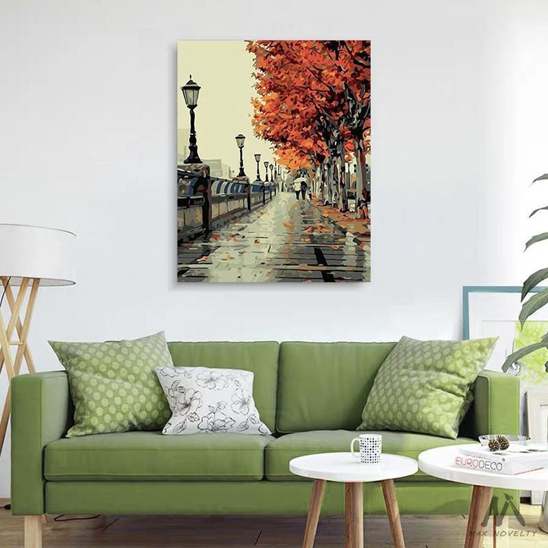 DIY Painting By Numbers - Autumn Street (16