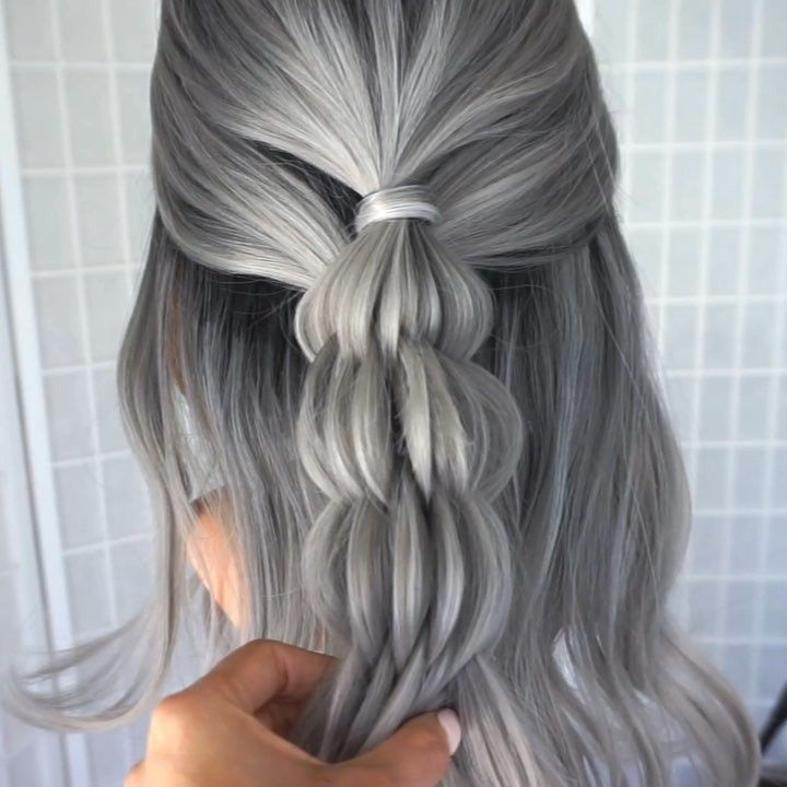 2020 New Gray Hair Wigs For African American Women Transparent Lace Twist Wig Baby Wigs Ash Grey Highlights Hair Wig For Women