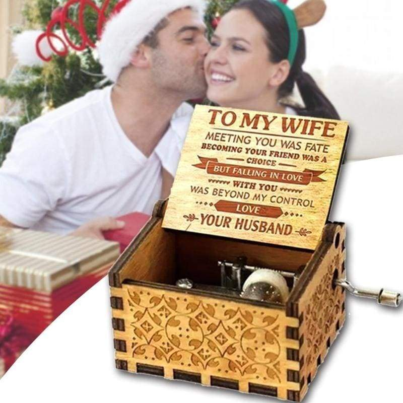 Surprise TO MY WIFE Wooden Classical Music Box Christmas Birthday Valentine Gift Crafts