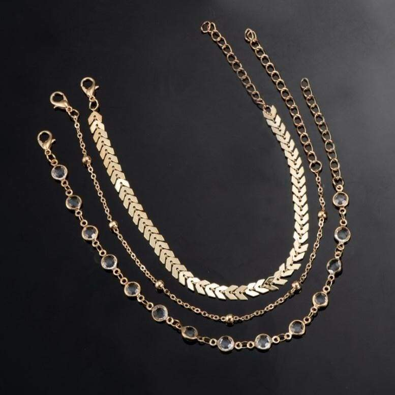 New Fashion 3 Psc/set Chain Anklet Tassel Copper Sequins Vintage Anklet Crystal Ankle Chain Popular Jewelry