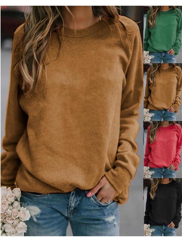 Loose Basic Long Sleeve Solid Color Round Neck T-Shirt
