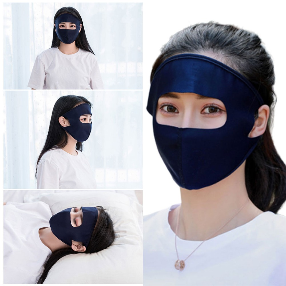 Unisex Summer Ice Silk Thin Sunscreen Full Face Protection, Breathable Solid Color Washable Earloop