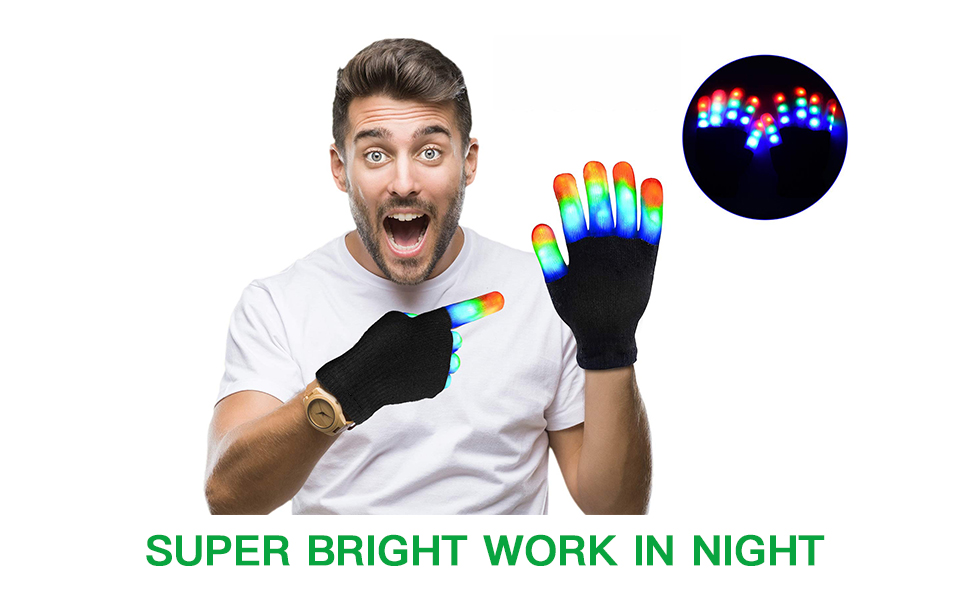 LED Muti-Color Glowing Gloves