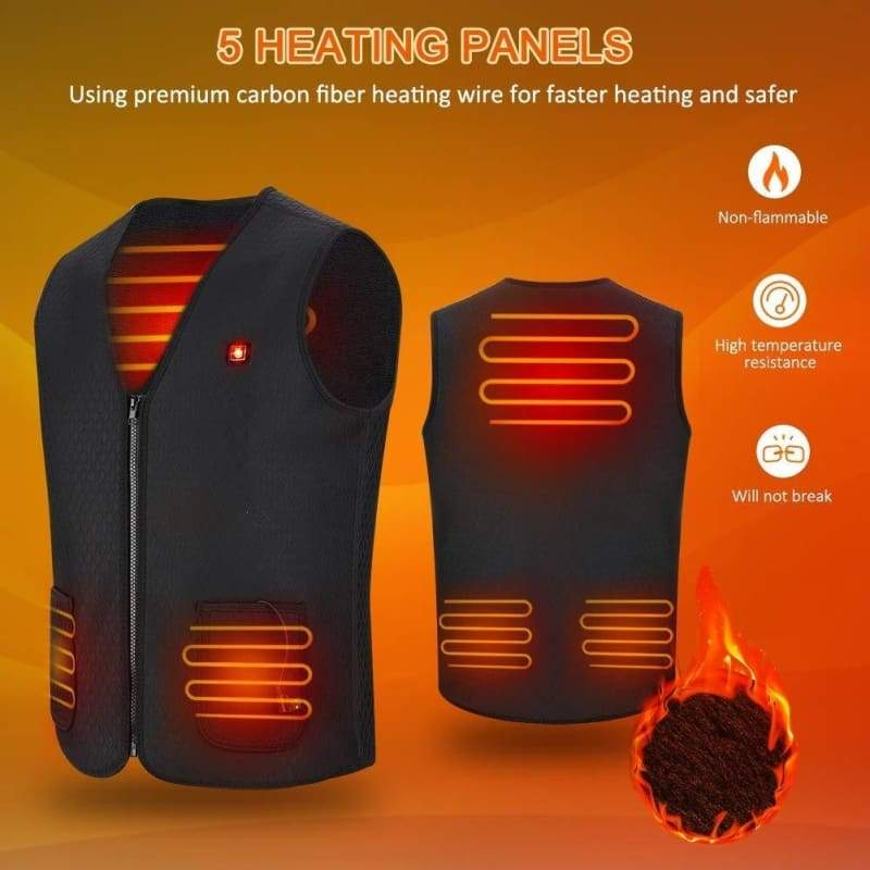 Men Women Outdoor USB Infrared Heating Vest Jacket Winter Flexible Electric Thermal Clothing Waistcoat Fishing Hiking Climbing