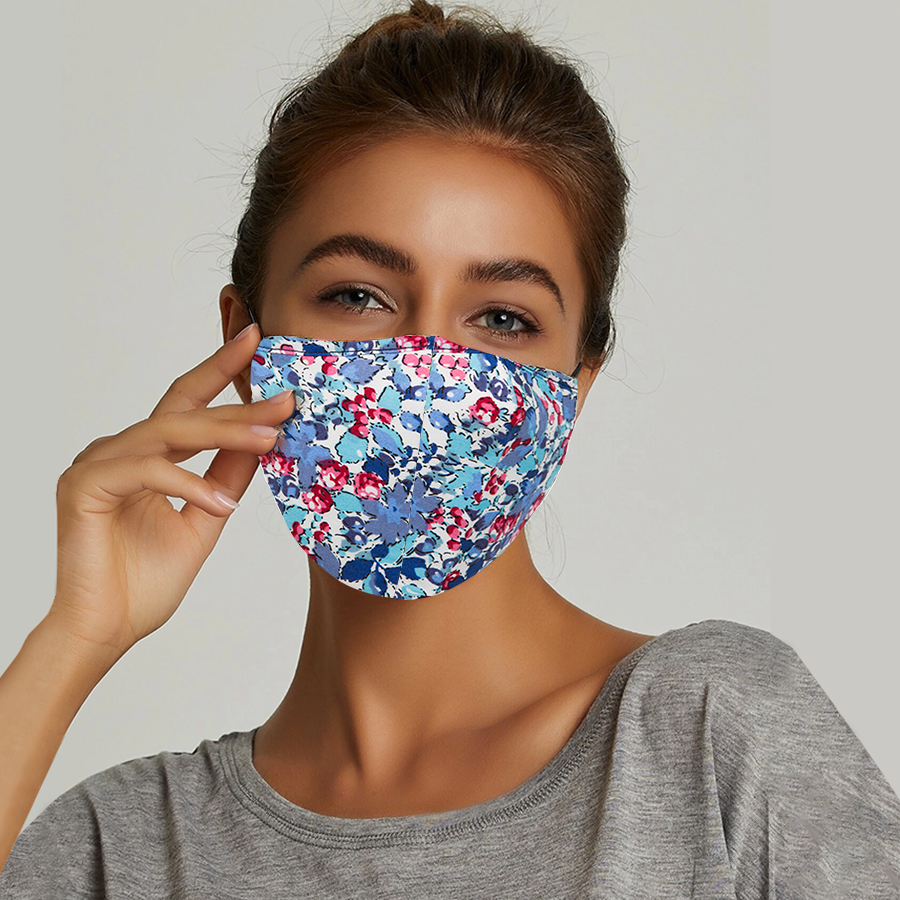3 Layer Stylish Cotton Face Mask | Handmade Floral Plaid Design Facemasks For Women