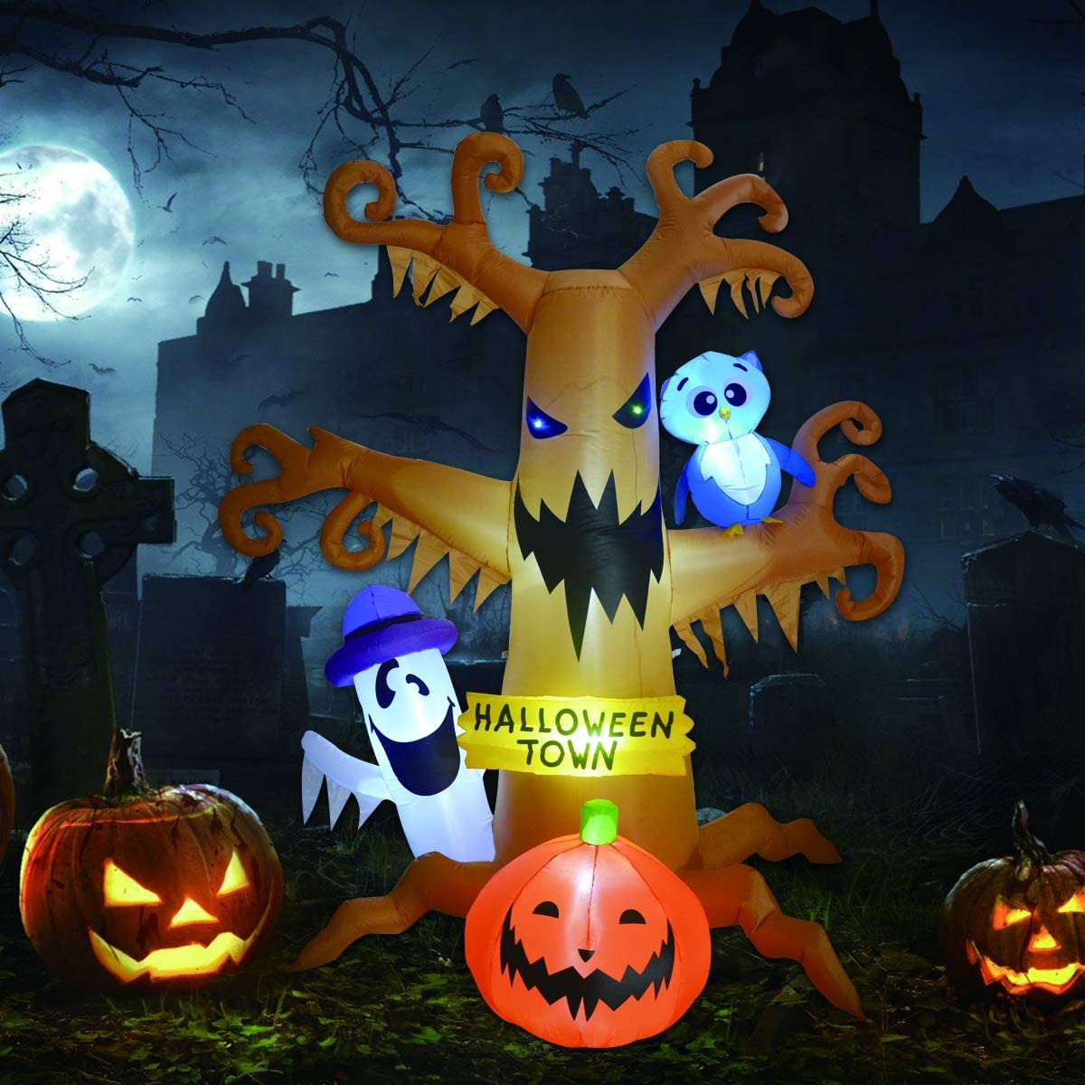 High Halloween Blow Up Inflatables Dead Tree with White Ghost,Pumpkin and Owl
