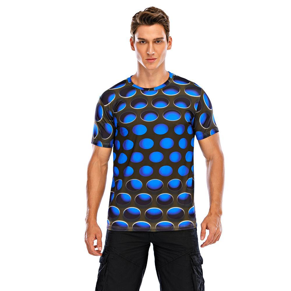 Men's T-shirt Graphic 3D Print Tops Street chic Exaggerated Round Neck Blue Purple Red