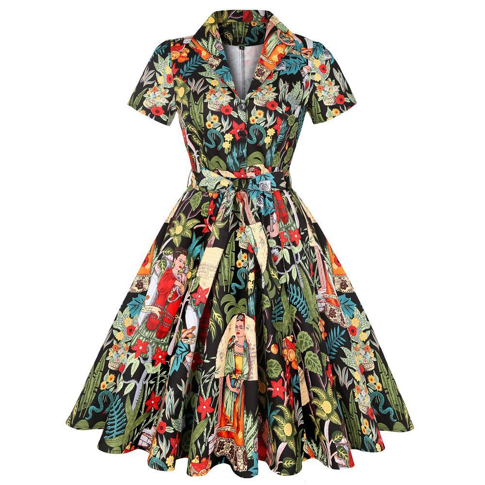 1950S Frida Print Rockabilly Swing Dress - blackfri - L
