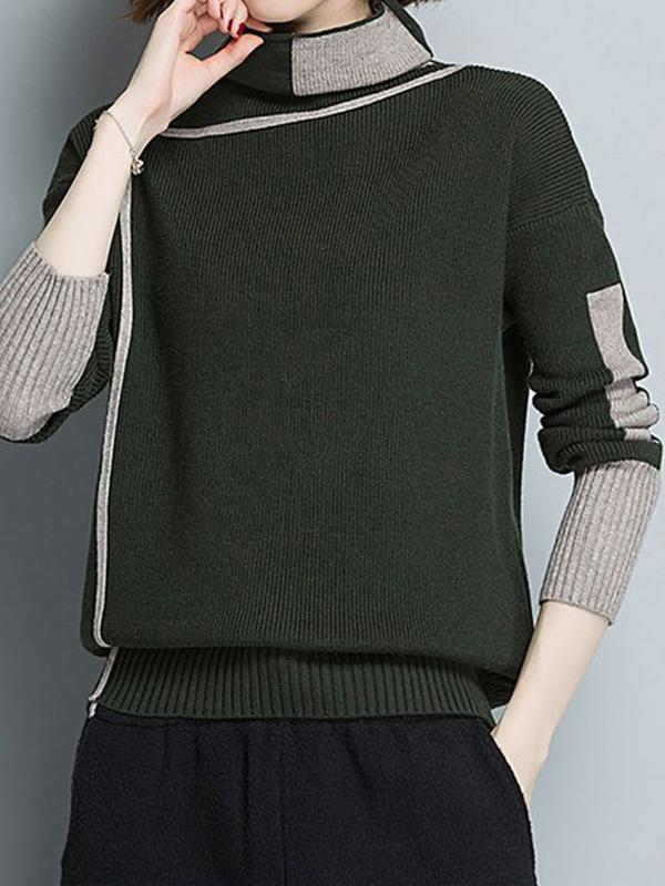 High Neck Simple Color Block Casual Knitted Sweater