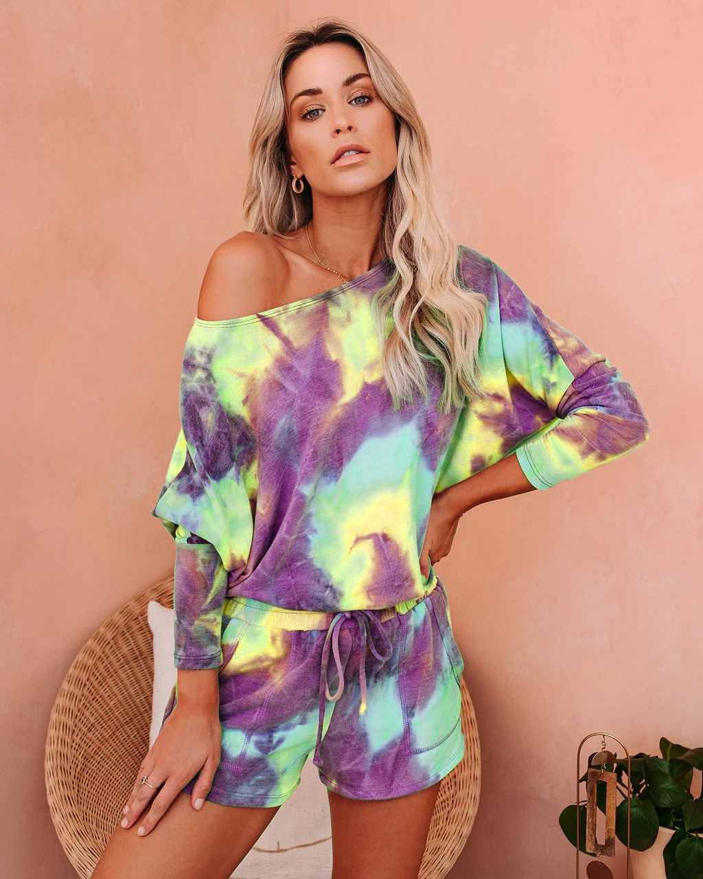 Casual sports cotton printed tie-dye gradient home suit