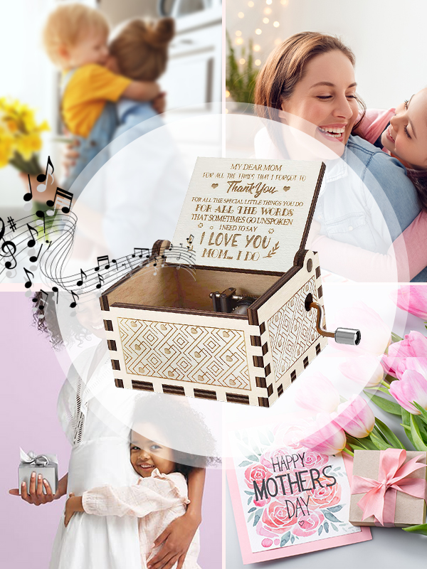 Hand Operated Mother's Day Theme Song Music Box Gift for Mom from Daughter/Son