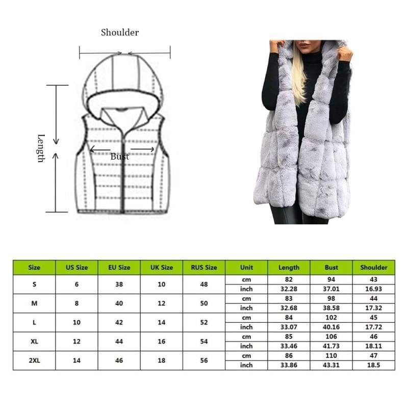 Womens Sleeveless Waistcoat Hooded Coats Winter Faux Fur Long Jacket Outwear