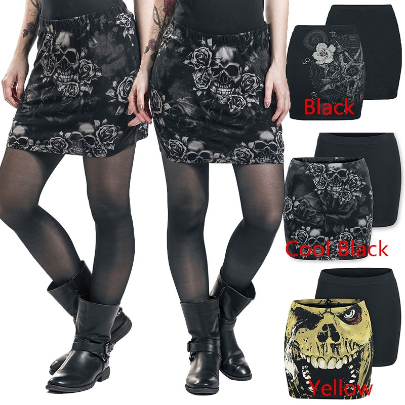 Steampunk Style Fashion Ladies Skirt Cool Skull Print Skirts Gothic Slim Hip Skirt