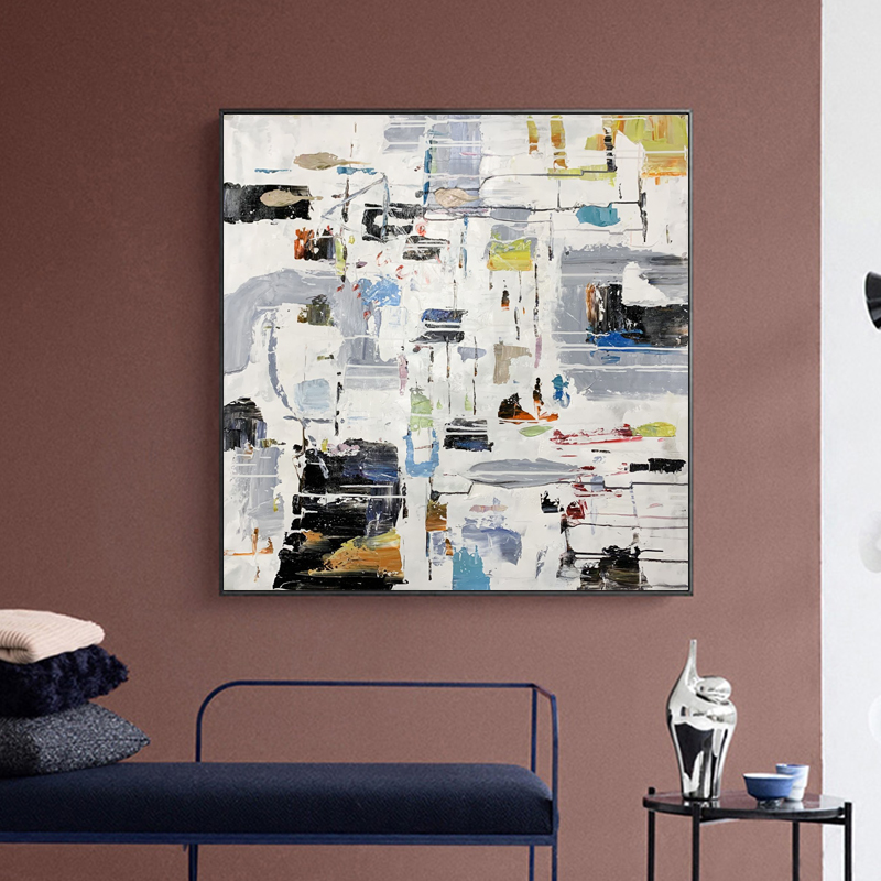 Hand-painted color block landscape abstract oil painting contemporary canvas wall home decoration art abstract canvas oil painting