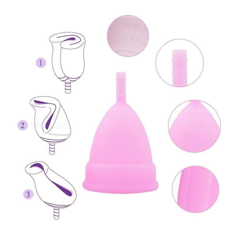 6Pcs 100% Medical Silicone  Feminine Hygiene Menstrual Cup for Women (with Bag)