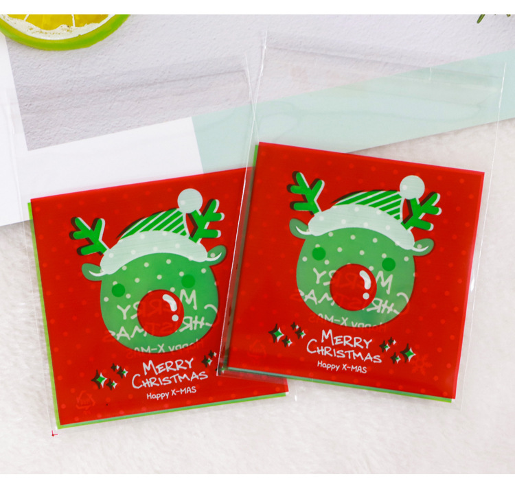 400pcs Christmas Gift Bags Biscuit Candy Translucent Packaging Bags