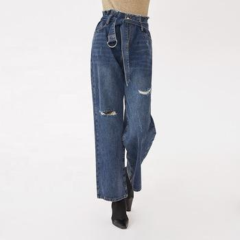 wide leg loose casual vintage zipper fly closure fashionable full length belted and ripped women light blue-jeans 2.11