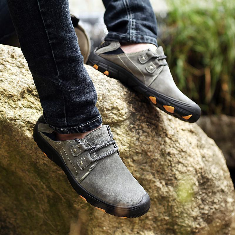 Men Genuine Leather Slip-resistant Outdoor Casual Hiking Shoes