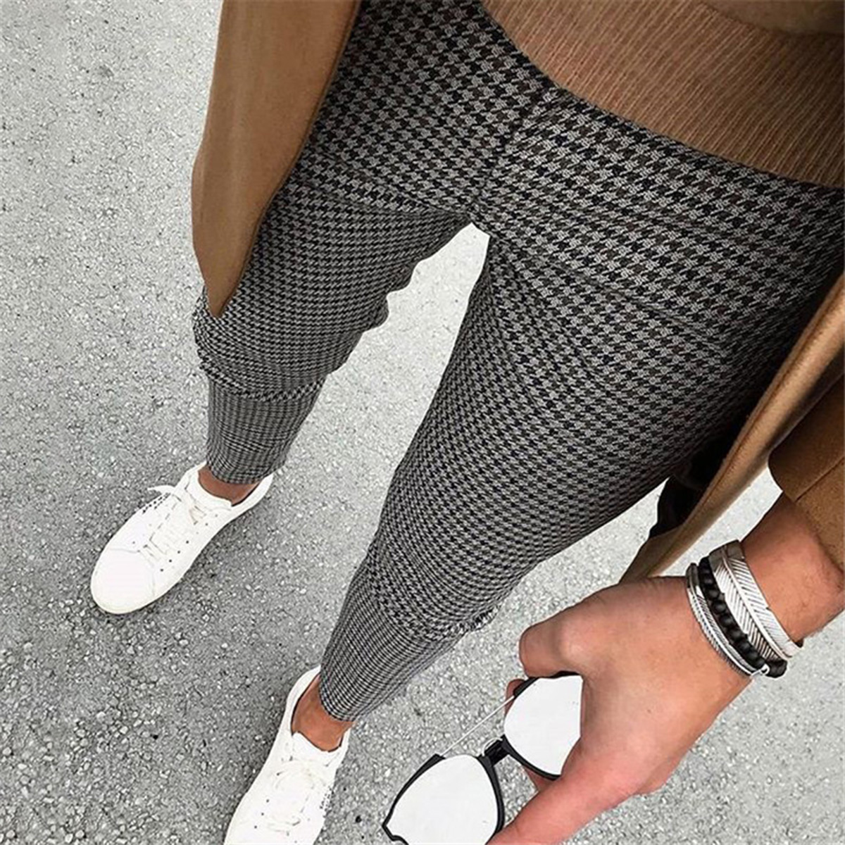 Casual Sporty Cotton,Polyester Plaid with Casual Pants(Plus Size)