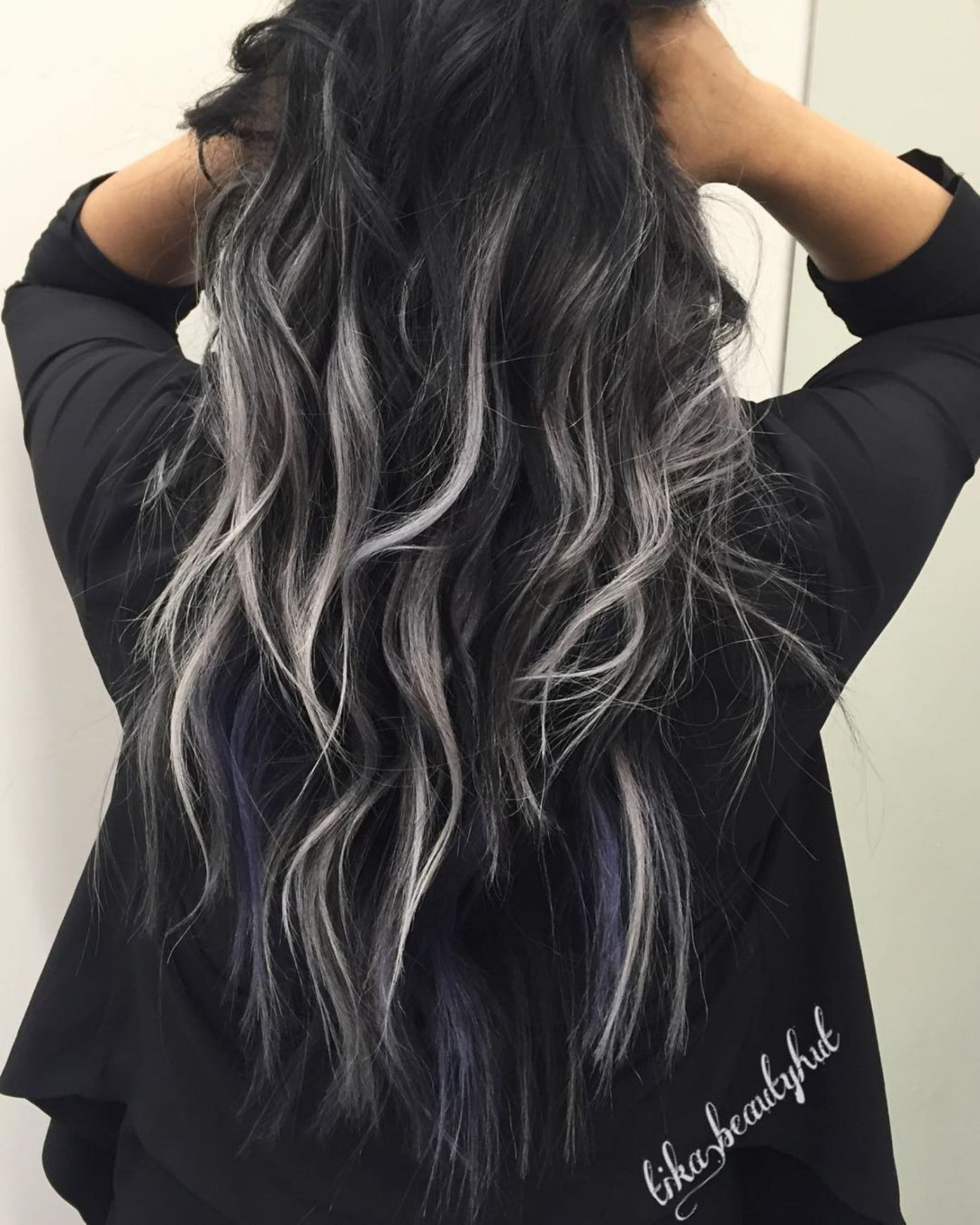 2020 Best Lace Front Wigs Grey Blonde Highlights Salt And Pepper Hair Women Grey Purple Hair Dark Blue Lace Wig