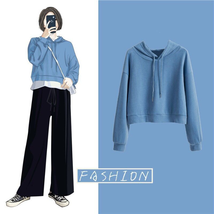 New Ladies Korean Style Loose Sweater Candy Color Casual Hooded Tops