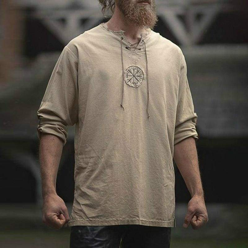Spring and Autumn New Fashion Men's Medieval Old-fashioned Tops Casual Vintage Shirt Loose Retro Solid Color Shirt Ancient Viking Embroidery Cosplay Costume Long Sleeve T-shirt Brief Slim Fit Streetwear Plus Size S-5XL 4 Color