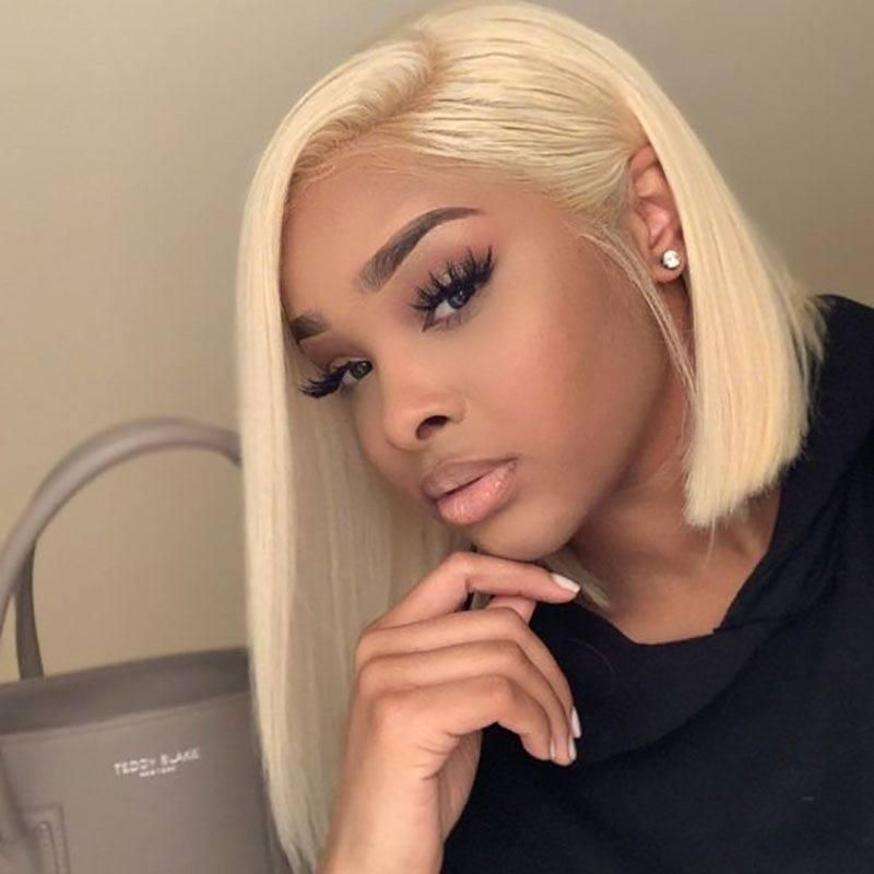 Lace Front Wigs Rose Gold Blonde Hair Balayage Lace Front Wigs Platinum Blonde Color