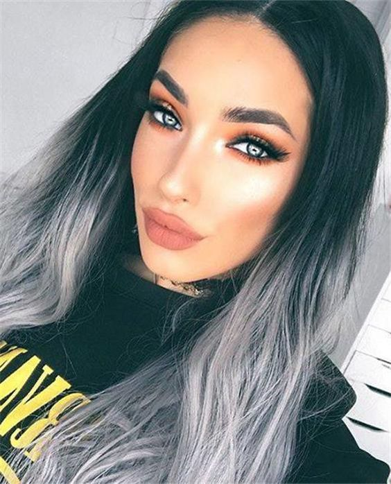 2020 New Gray Hair Wigs For African American Women Grey Ombre Short Hair Low Maintenance Hair Color For Gray Hair Ginger Lace Front Wig Young Women With Grey Hair Magenta Wig