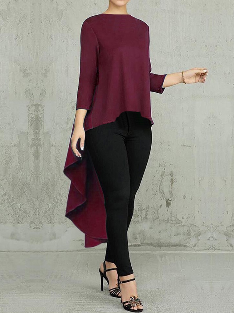 Women Long Sleeve Asymmetrical Waterfall Shirt Tunic Tops High Low Plus Size Blouse