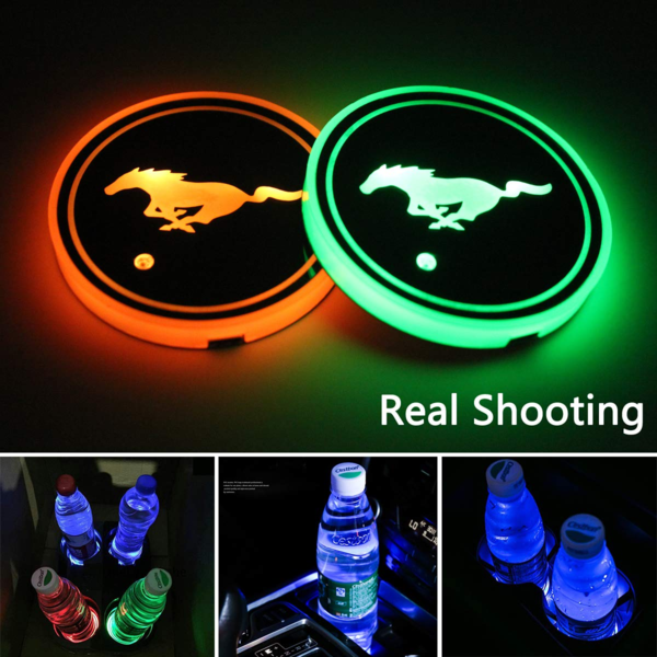 (Last Day Promotion)-7 Colors Led Changing Car Logo Cup Coaster(1 pc)
