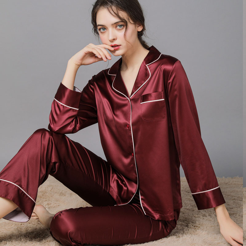 2-piece set of pure silk red fringe pajamas