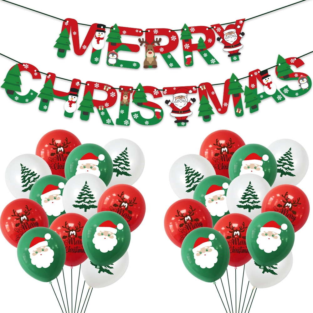 Christmas shopping mall home hotel decoration balloons Paper banner decoration set
