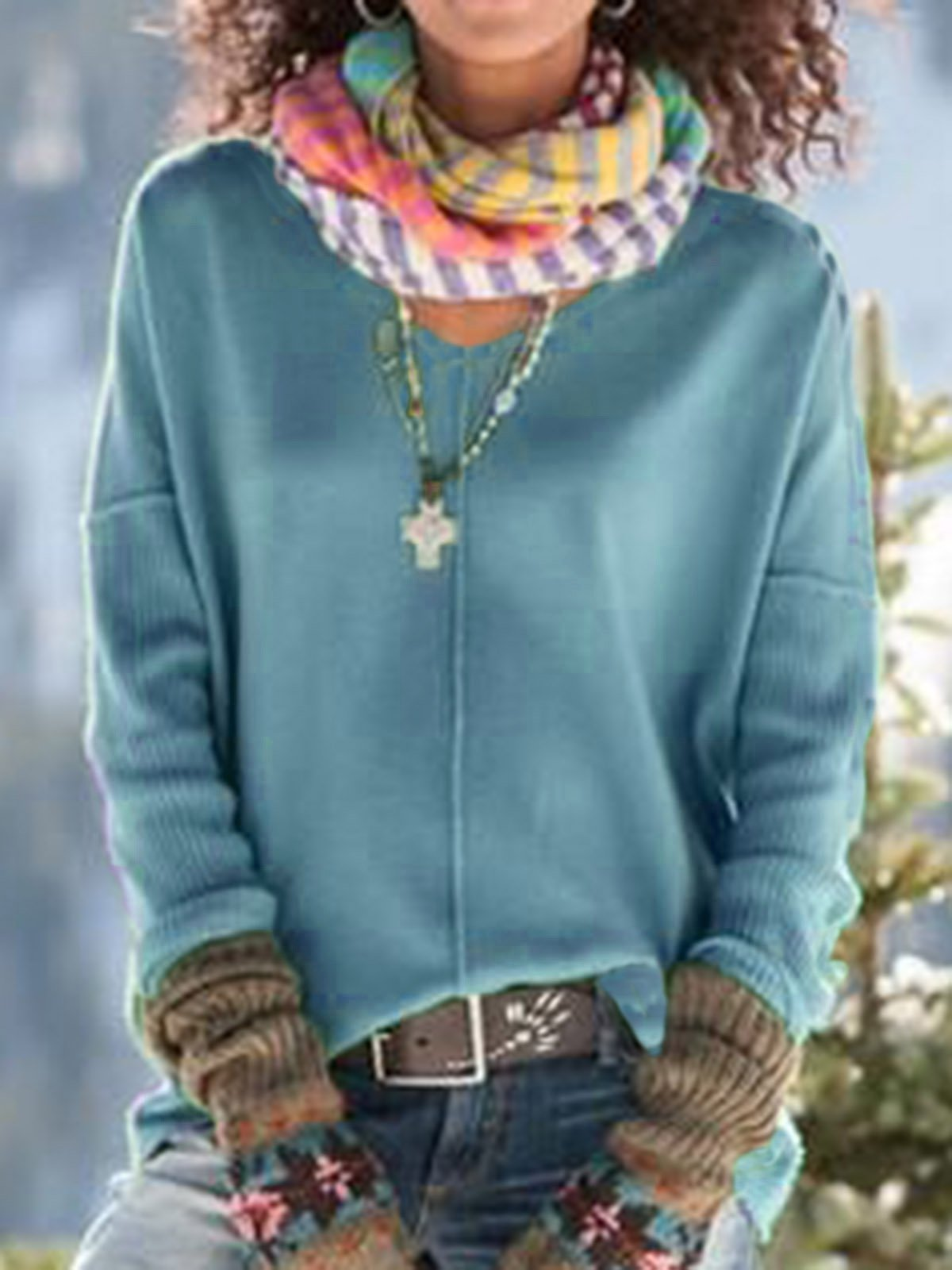 Womens Fall Clothing  Knitted Simple Shirts & Tops
