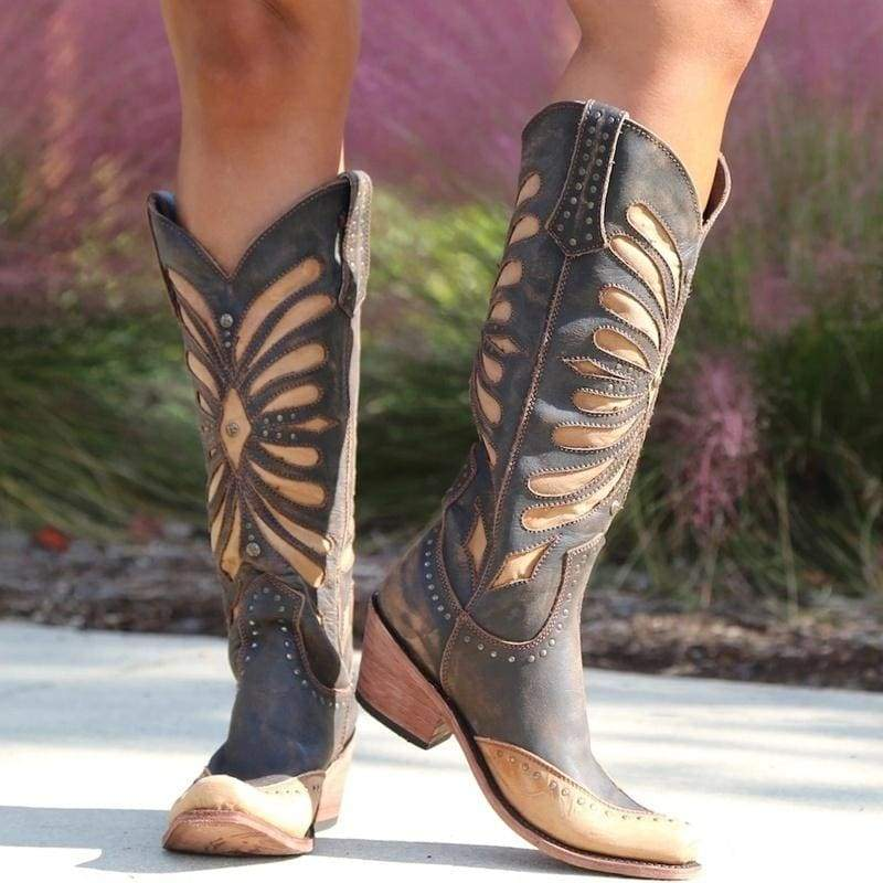 New Women's Vintage Black Brown Leather Inlay Distressed Cowgirl Boots Knee High Autumn/Winter Cool  Rivet Boots Plus Size