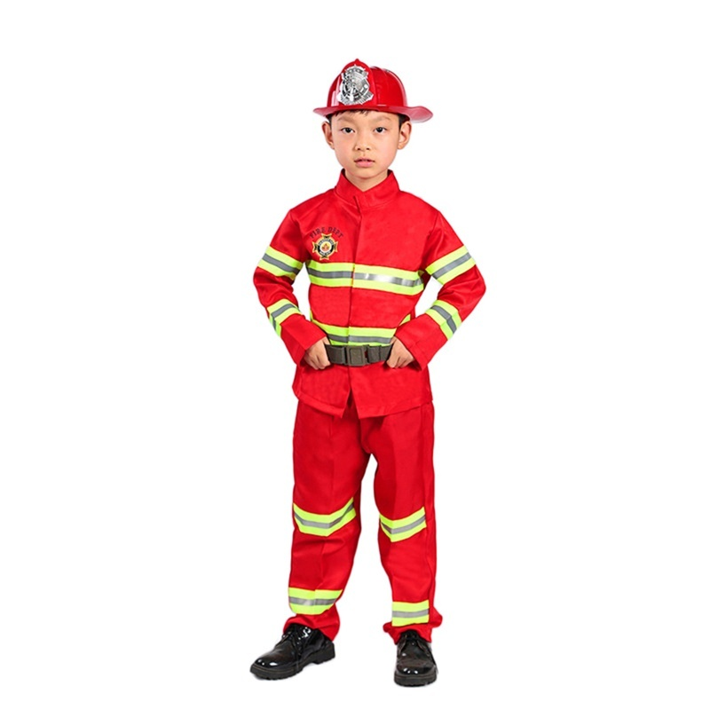 Kids Firefighter Costumes Baby Boys Girls Fireman Sam Cosplay Carnival Halloween Party Fancy Stage Performance Fire Army Clothes