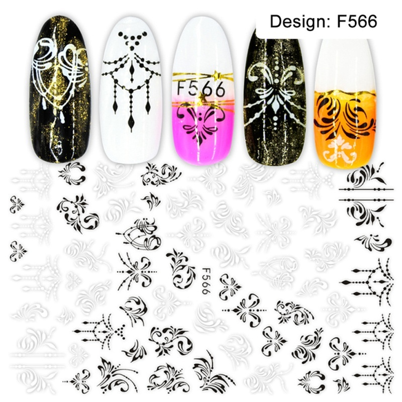 1pcs Stickers for Nails Designs White Black Flower Leaf Linear Manicure Sliders 3D Nail Art Decorations sticker Decal