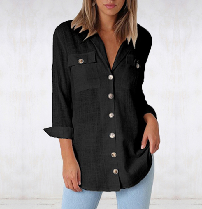 Casual Button Down Blouse With Chest Pockets