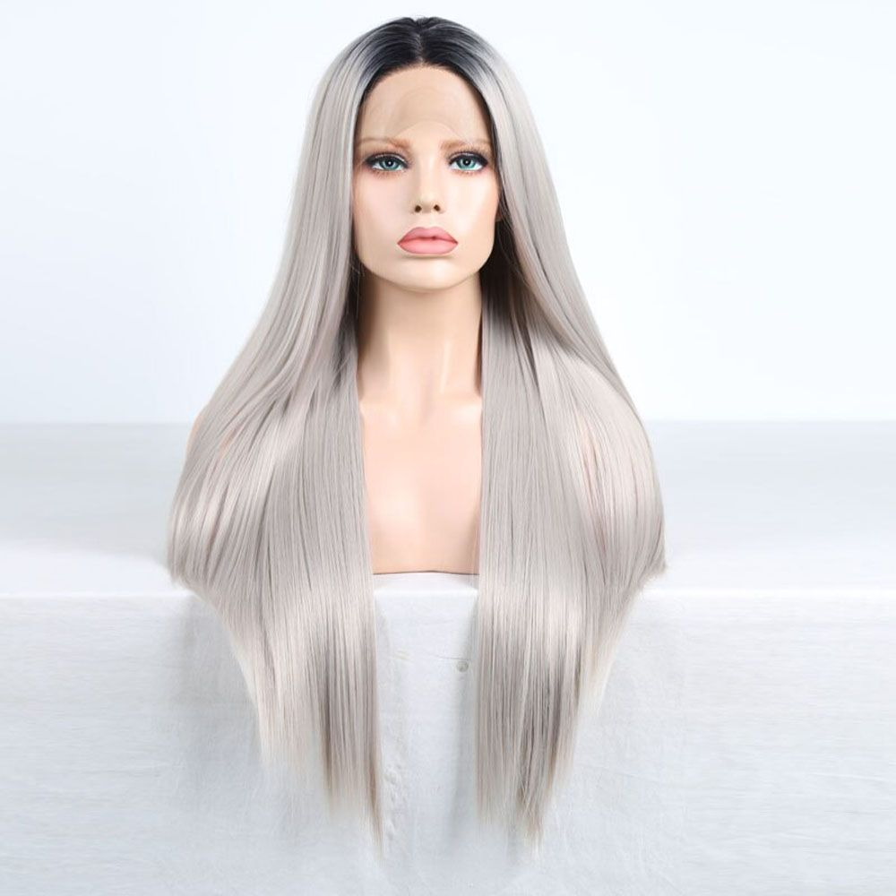 2020 New Gray Hair Wigs For African American Women Lowlights For Brown Hair Going Grey Long Ponytail Wig Glueless Full Lace Wig Overtone On Grey Hair Black To Grey Ombre Short Hair