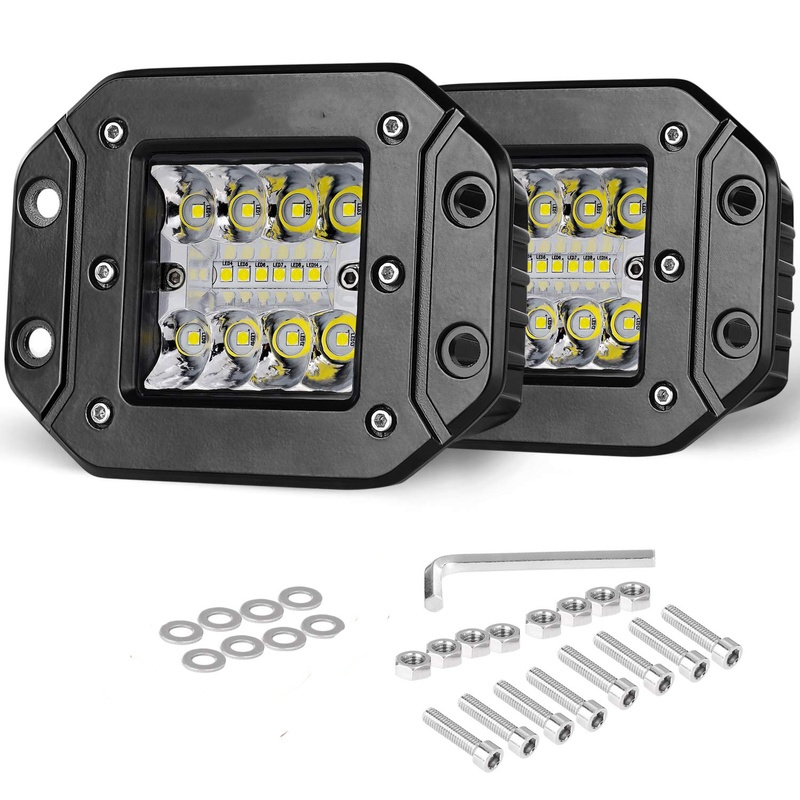Flush Mount LED Pods 2pcs 5'' 42W LED Fog Light Super Bright  Off Road for Truck SUV Boat 4x4  Grill Mount