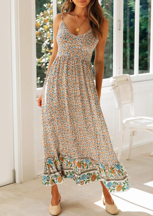 Floral Spaghetti Strap Maxi Dress without Necklace