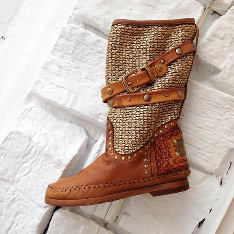 Womens Vintage Style Casual Rivet Boots