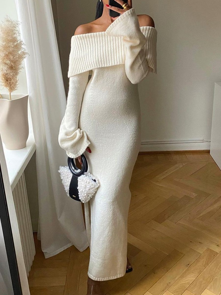 Fashion Casual Off-shoulder Knitted Maxi Dress