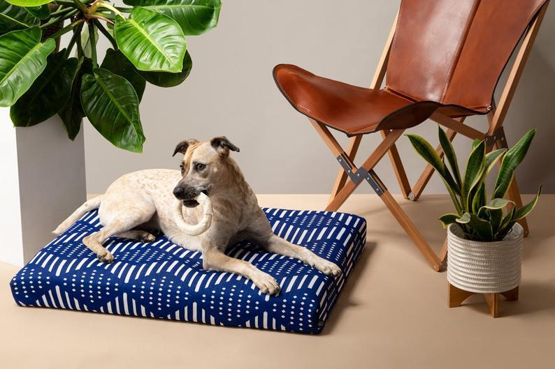 Mudcloth Dog Bed | Indigo Blue Dog Bed