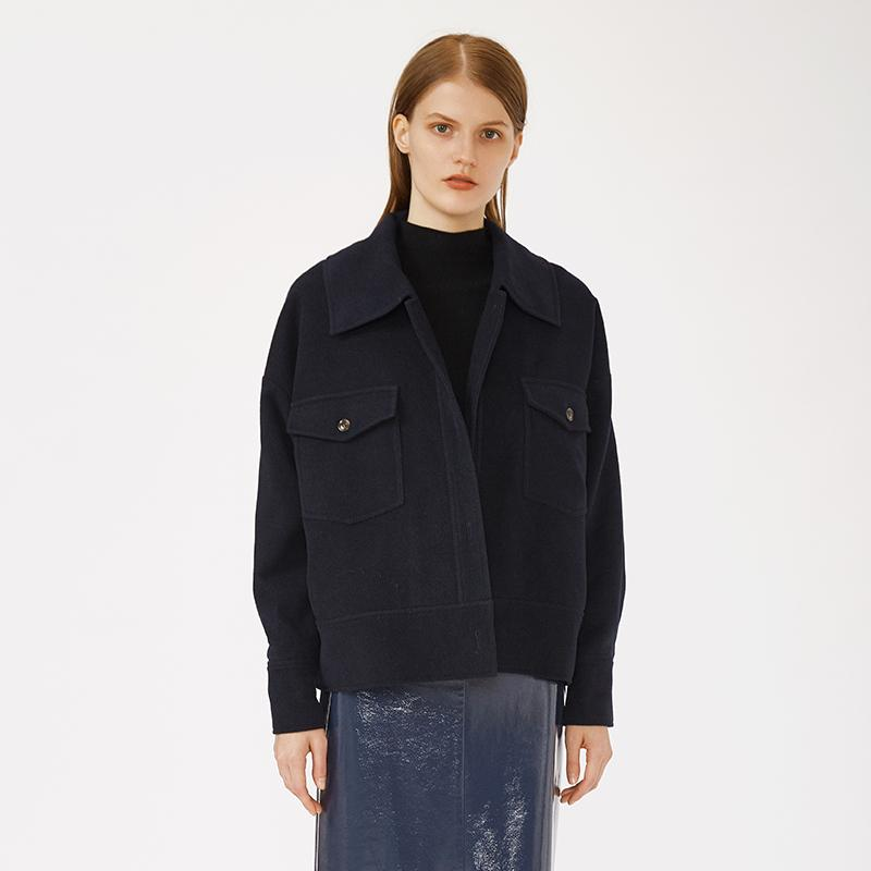 OEM loose casual single breasted navy ladies daily winter wear faux fur cropped coat woman-Casual Outwear 2.11