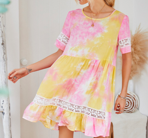 New super fairy holiday style spring and summer basic irregular tie-dye wrinkled jacquard spot